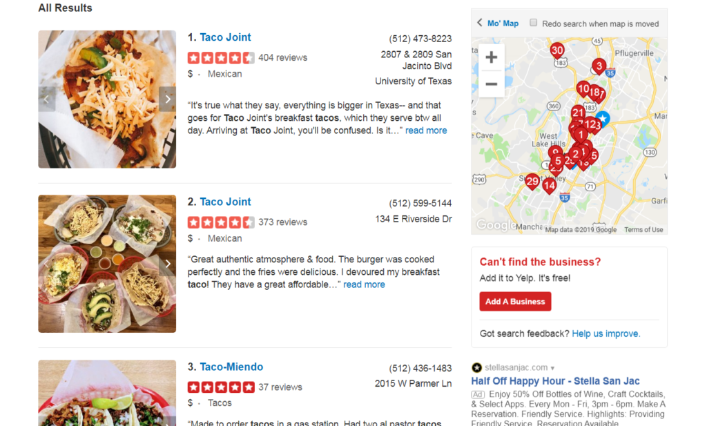 example of reviews on yelp.