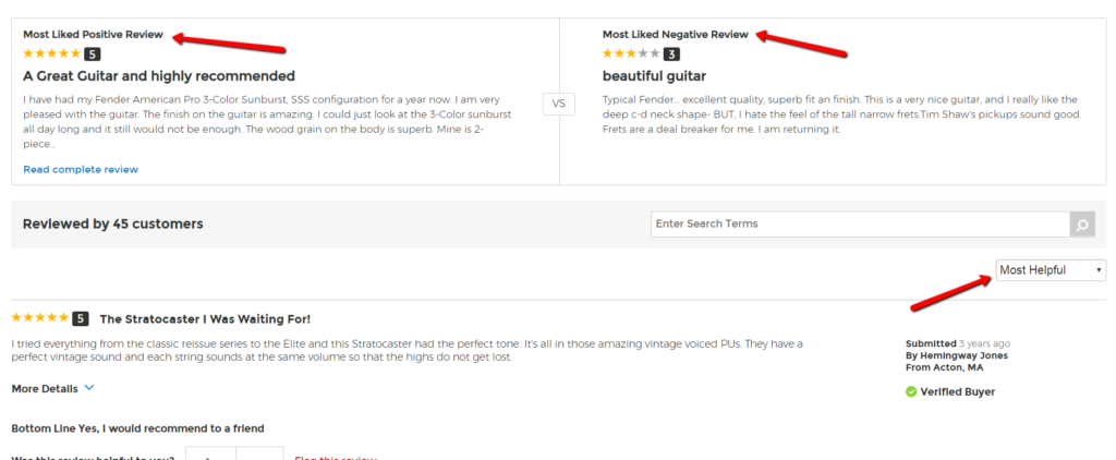 example of review layout that includes most liked negative and positive reviews, and orders reviews by most helpful.