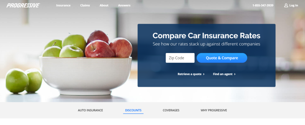 car insurance website that uses comparison capability as the primary value prop.