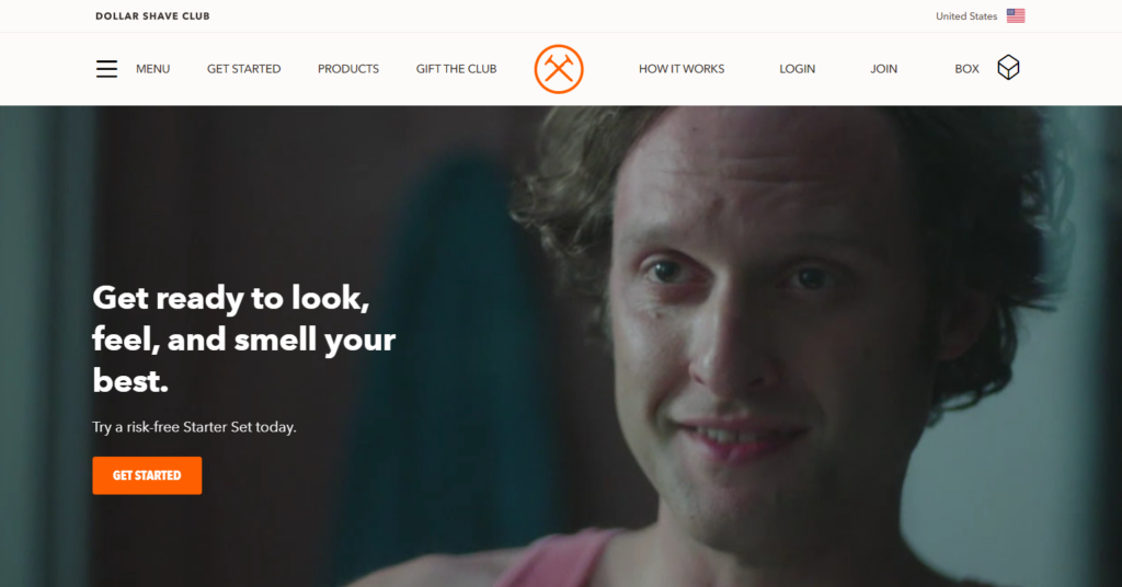 dollar shave club homepage.
