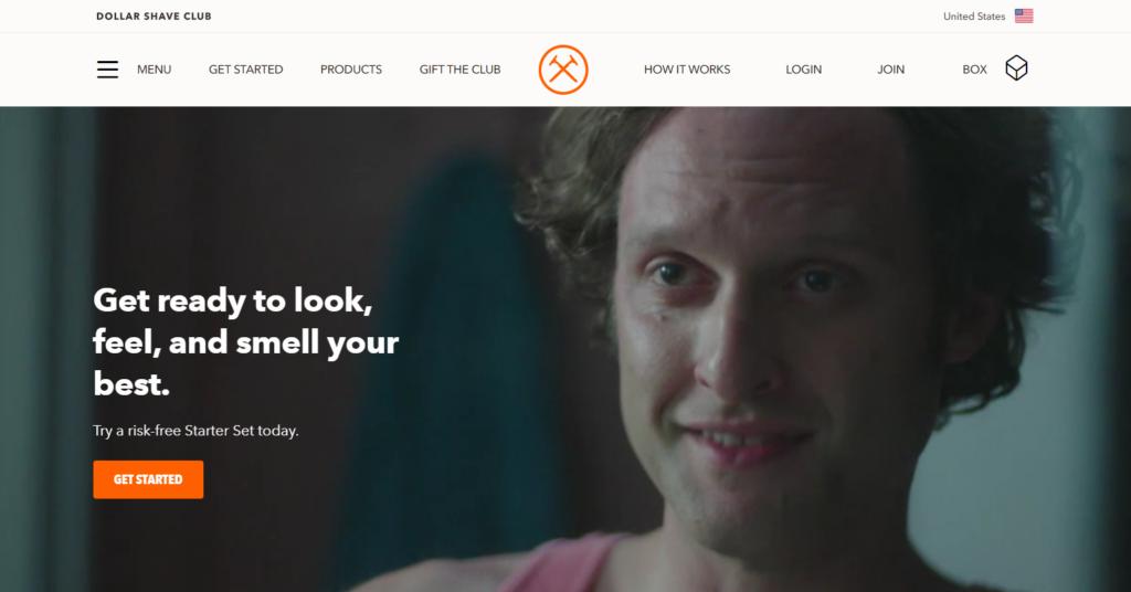 dollar shave club homepage.