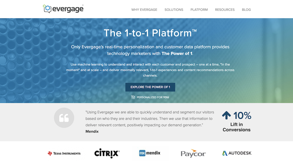 Evergage homepage.