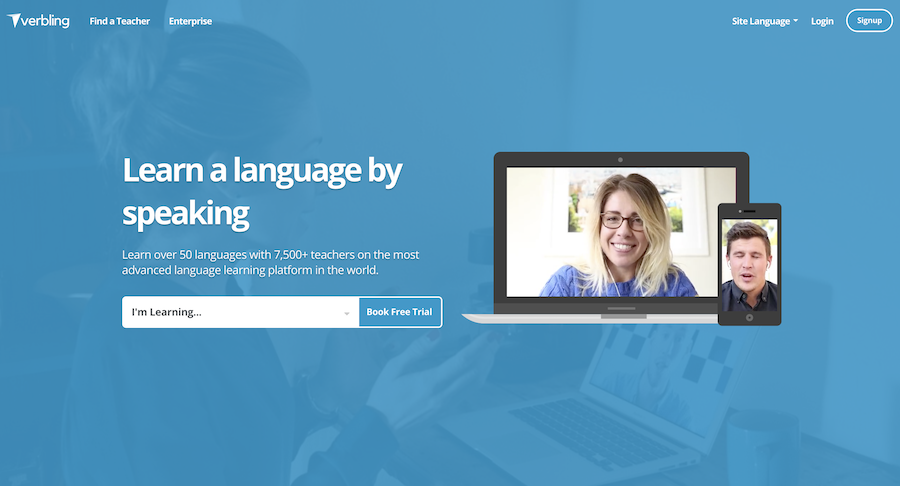 Verbling homepage.