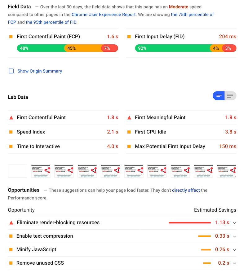 Google PageSpeed Insights report.