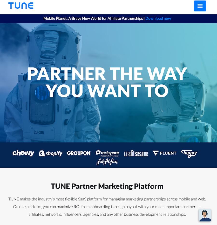 TUNE homepage.