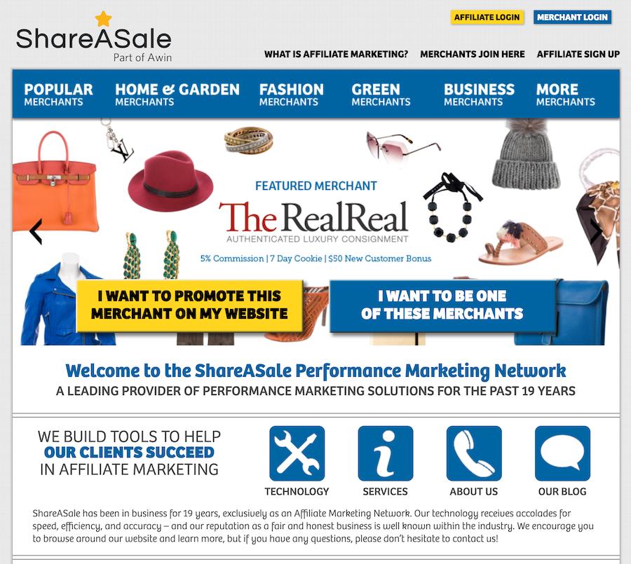 ShareASale affiliate marketing platform.