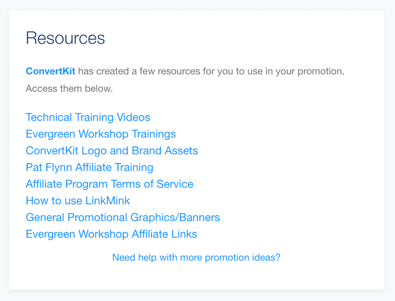 ConvertKit's affiliate resources.