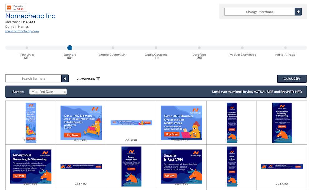 Namecheap affiliate marketing banners.