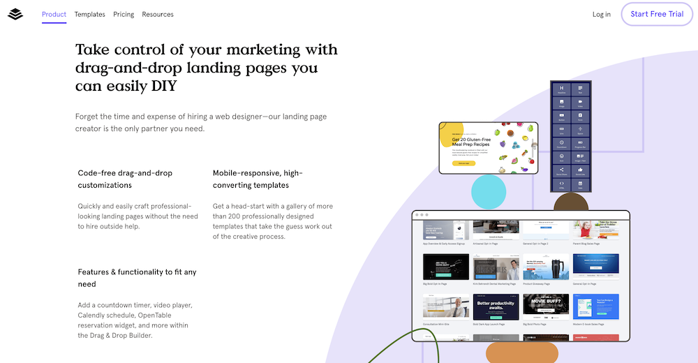 Leadpages has library of mobile-responsive landing page templates.