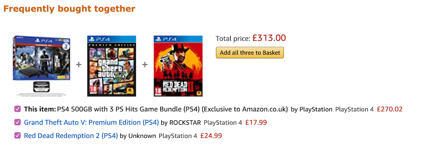 Amazon's Frequently bought together bundle sales.