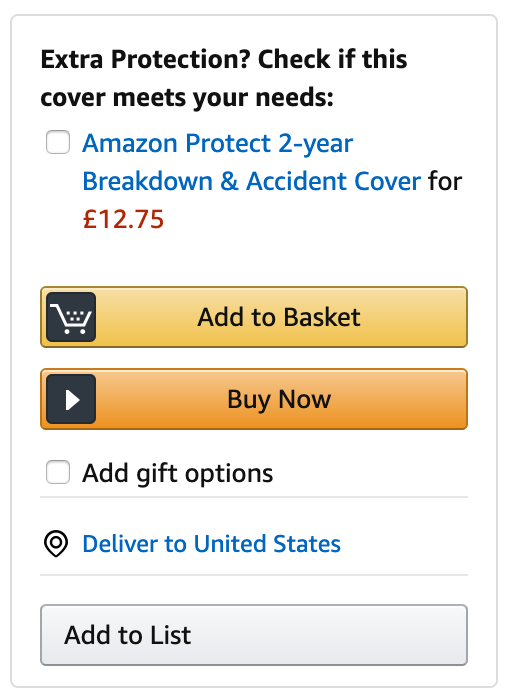 Amazon Protect upsell.