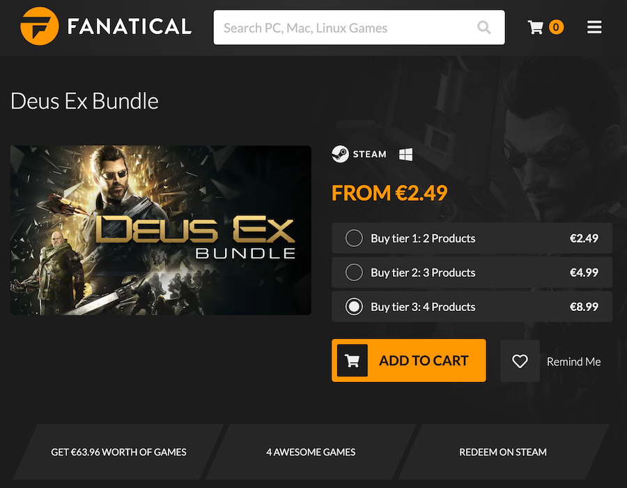 Fanatical's bundle sales.