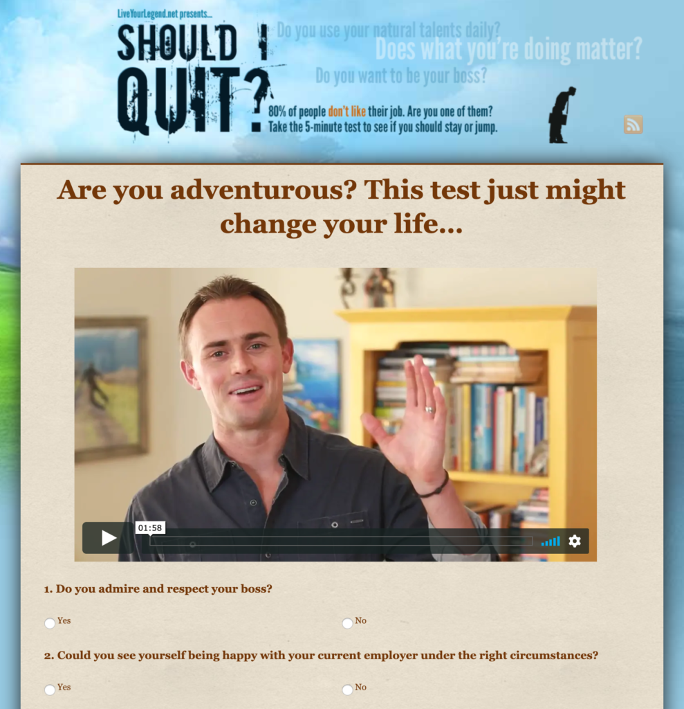 Should I Quit? test example.