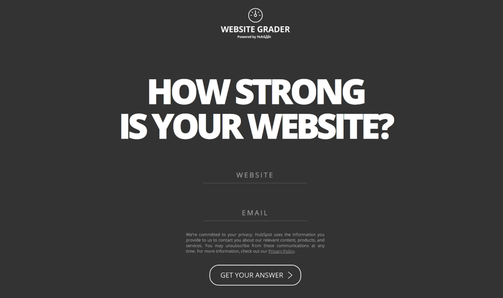 HubSpot's Website Grader.