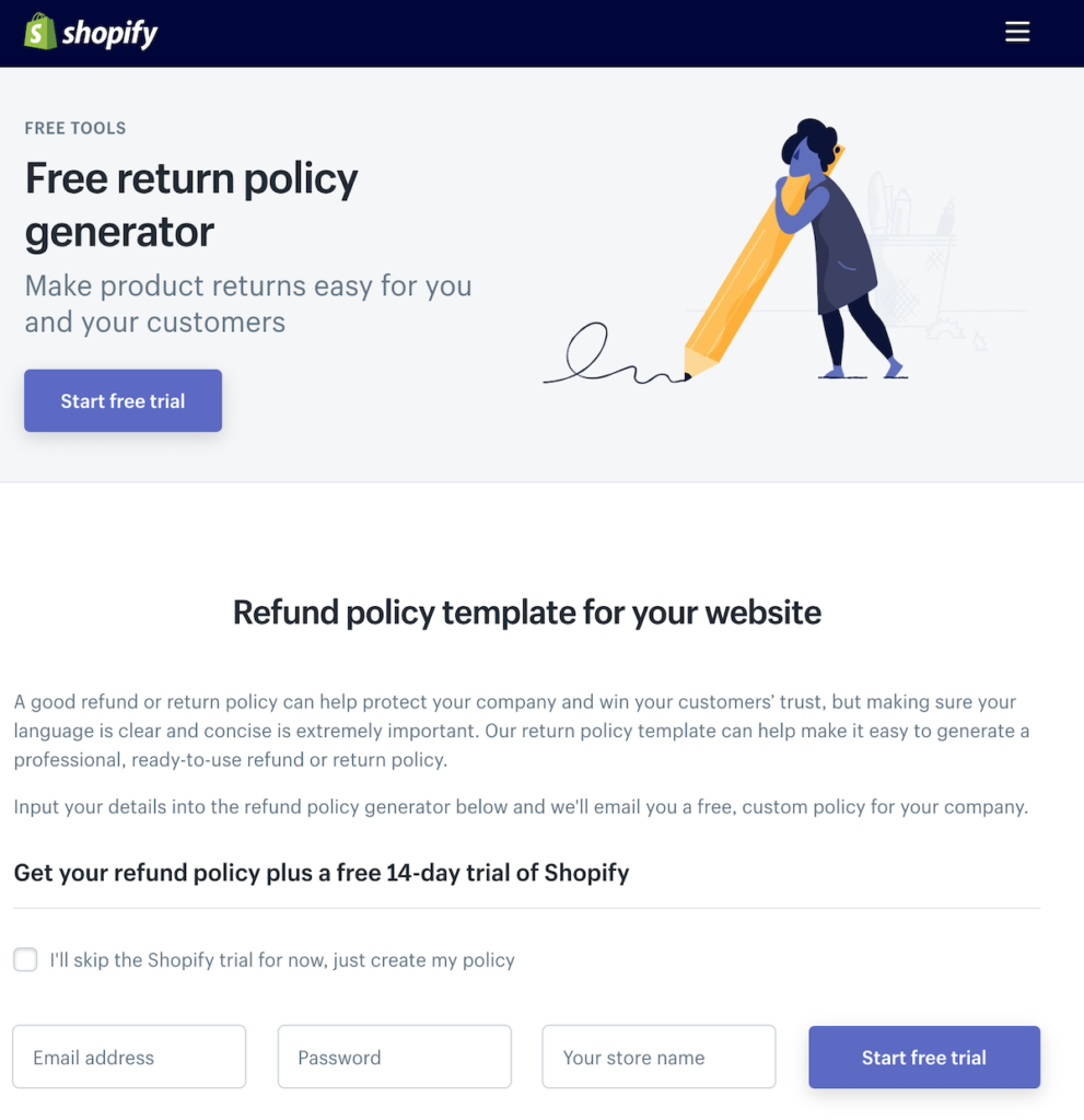 Shopify free return policy generator lead magnet.