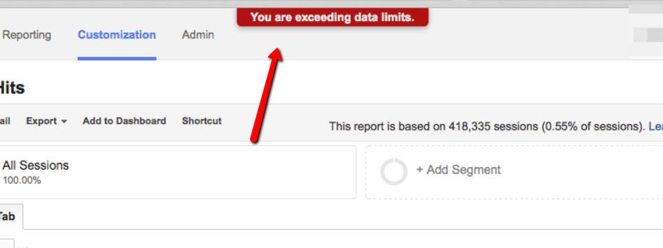 exceeding data limits google analytics.