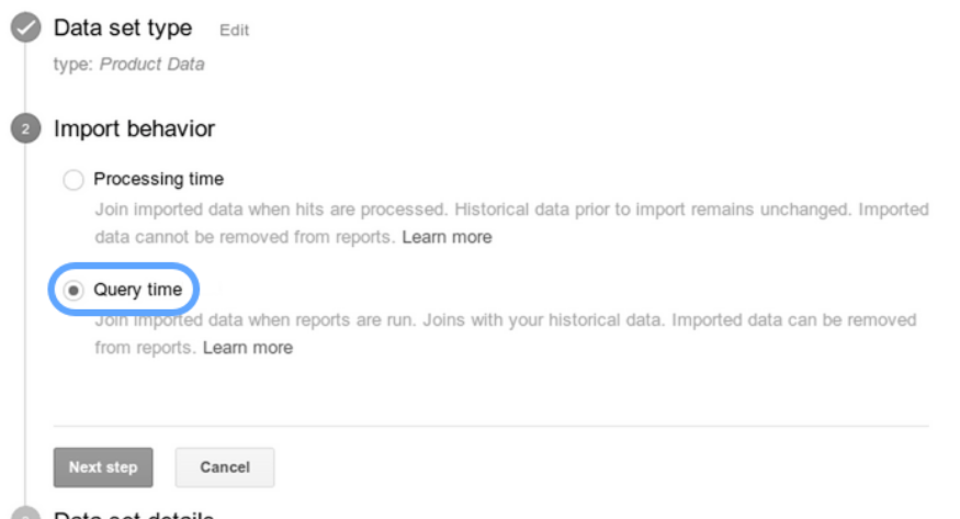 query time import in google analytics 360.