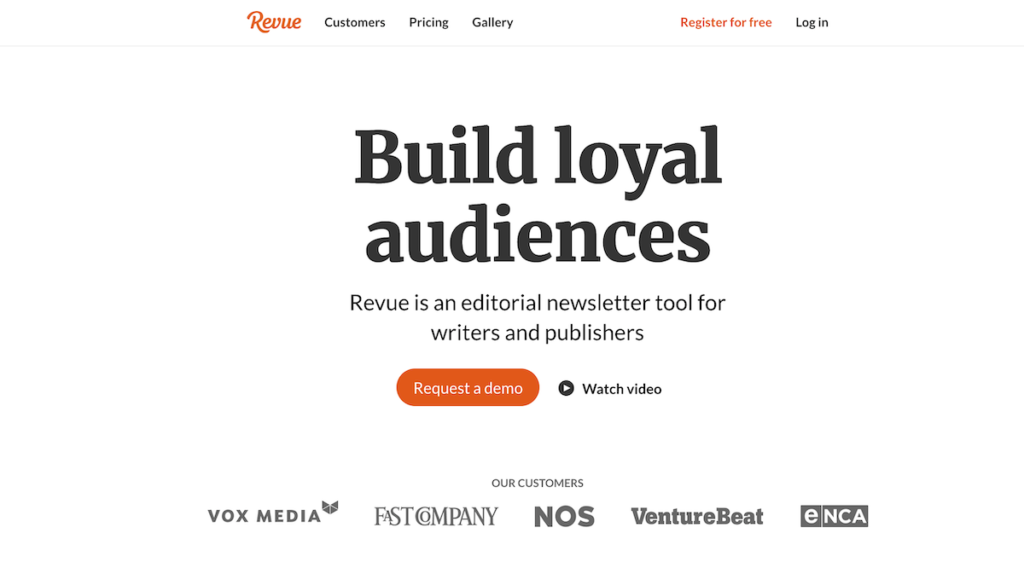 Revue's homepage with a 'watch video' button.