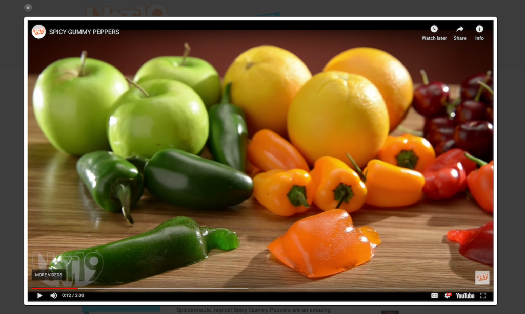 The spicy gummy peppers video from VAT19, full-screen.