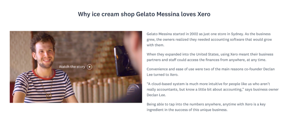 The Xero case study with video.