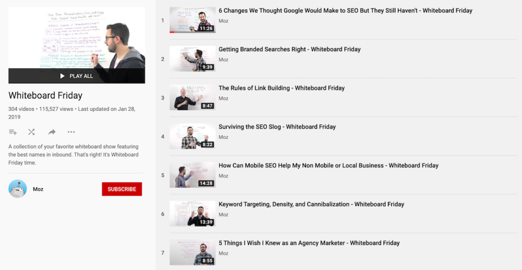 Moz's Whiteboard Friday on YouTube.
