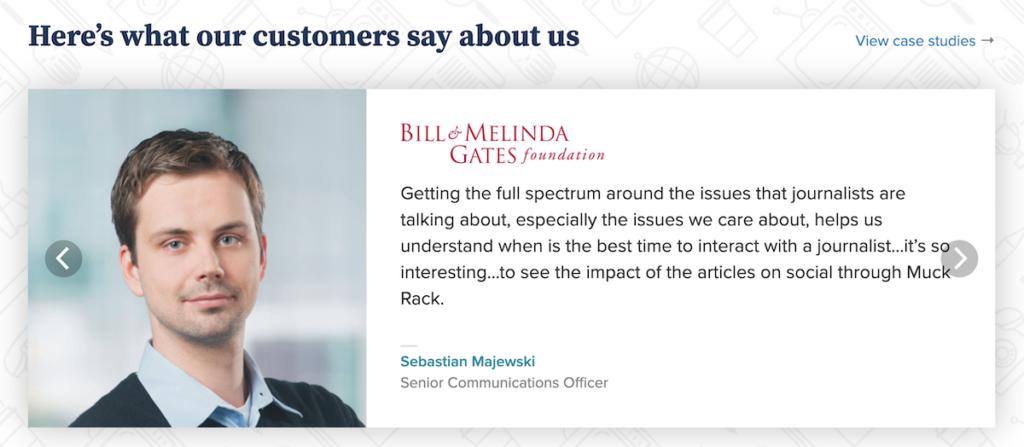 Customer testimonial on Muck Rack's website.