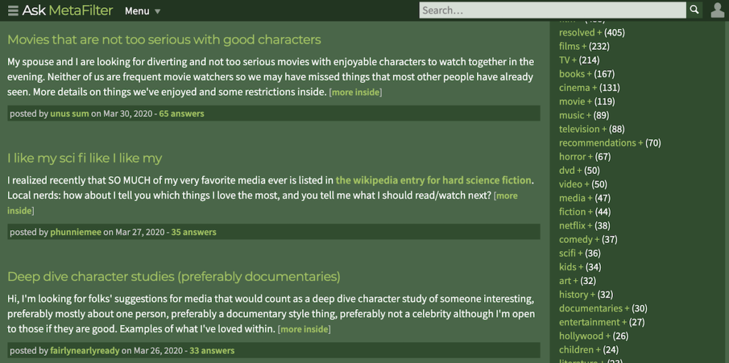 MetaFilter screenshot.
