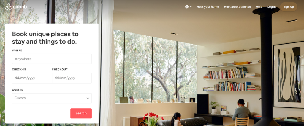 Airbnb value proposition screenshot.