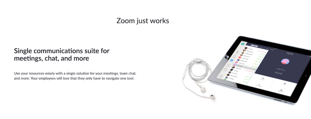Zoom value proposition screenshot.