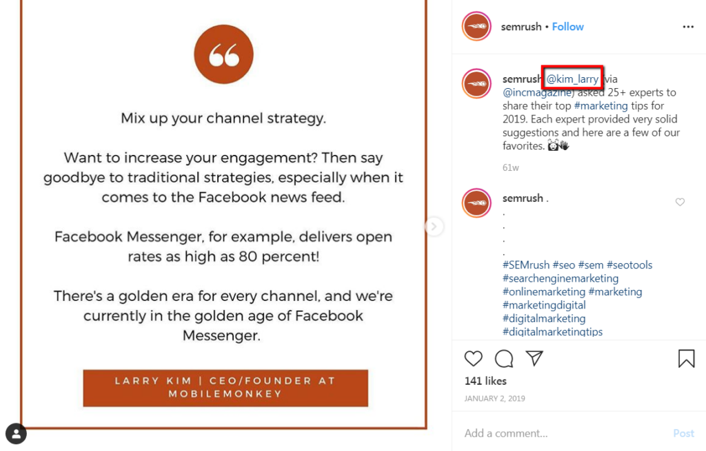example of tagging influencers in instagram posts and sharing their quotes.