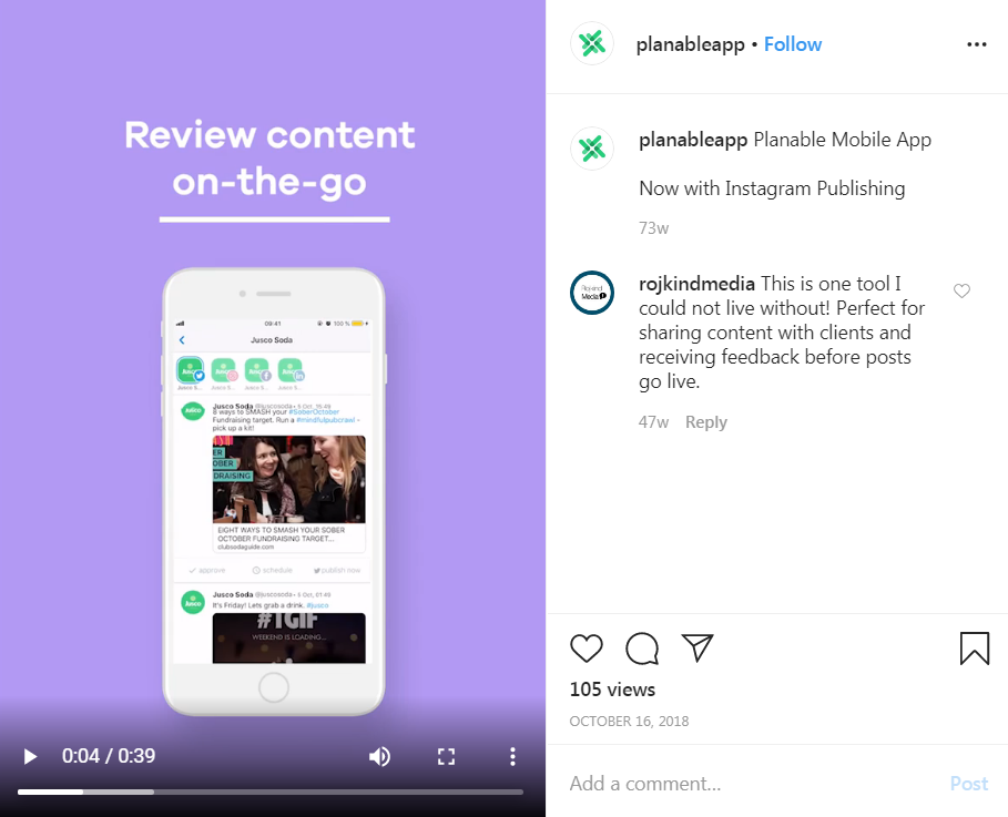 example of a short product demo within an instagram post.