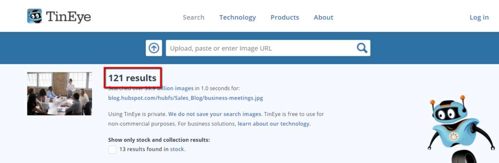 example of tineye results for a stock photo.