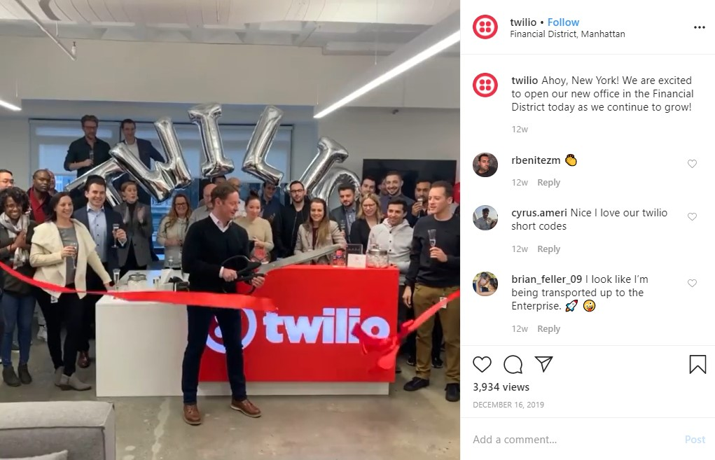example of sharing company news and getting views, even with a small instagram following.