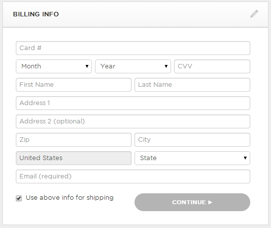 billing form example for online checkout.