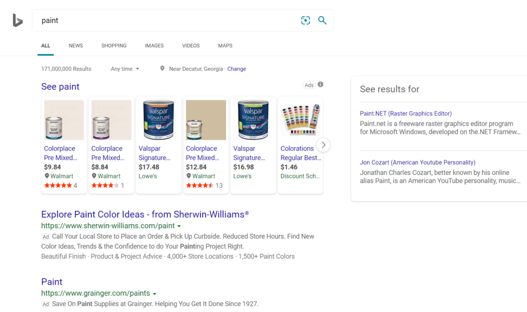 example of search results on bing.