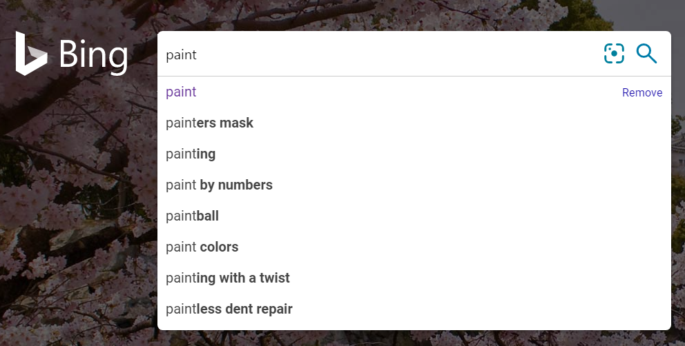auto-suggest results from bing homepage.