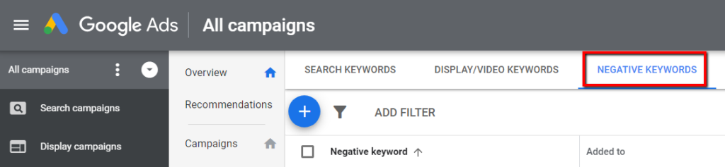 negative keywords in google ads interface.