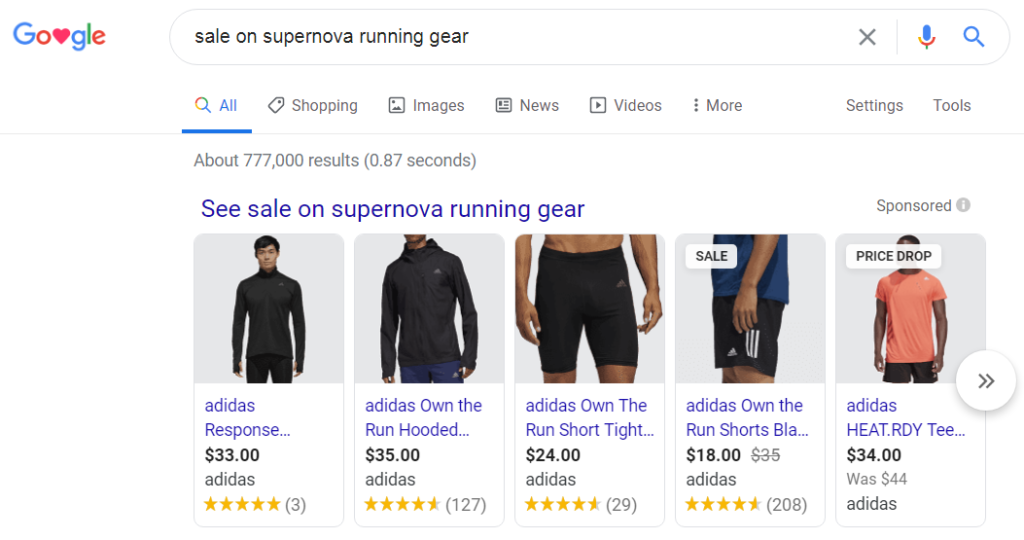 serp with ambiguous product intent.