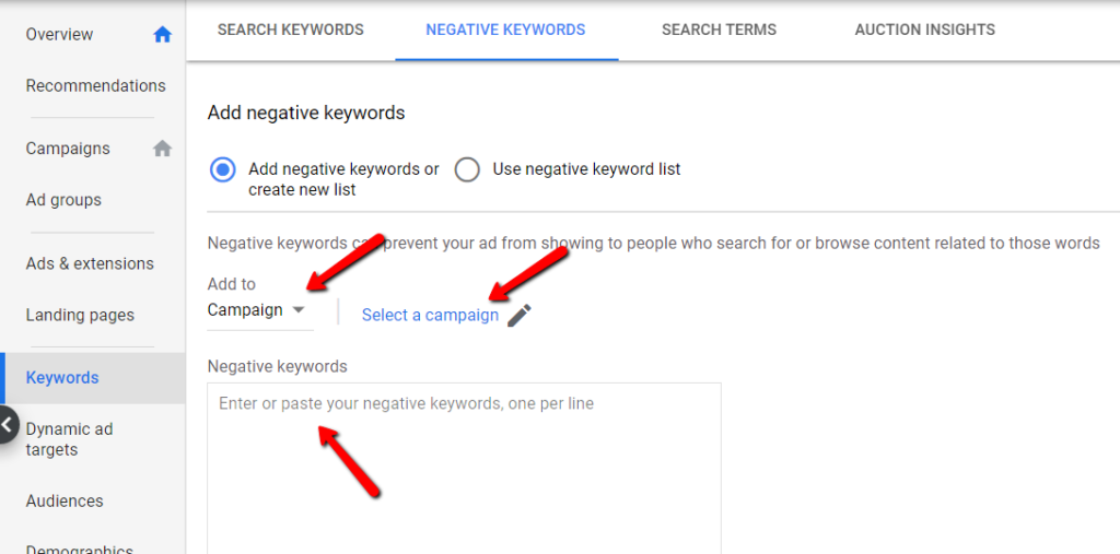 adding negative keywords at the campaign level.