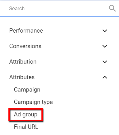 filtering by ad group in google ads.