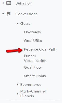 reverse goal path in google analytics.