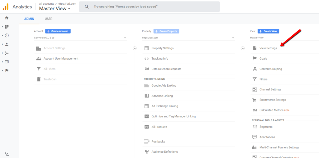 view settings in google analytics.