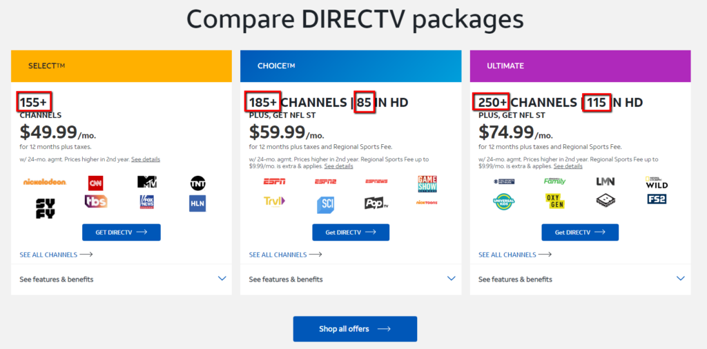 example of directv ad focusing on number of channels.