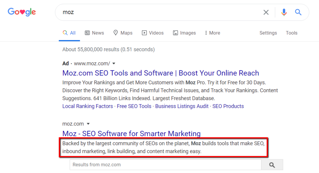 example of meta description as a sub-headline for a webpage.