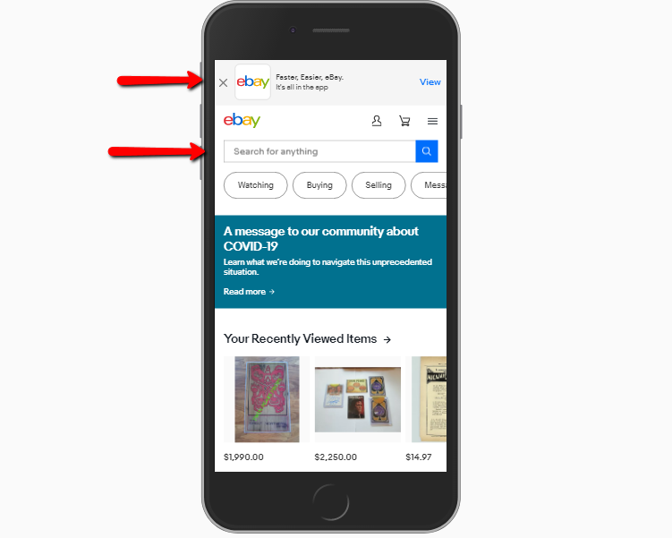 ebay homepage with app download and site search prominently displayed on mobile.