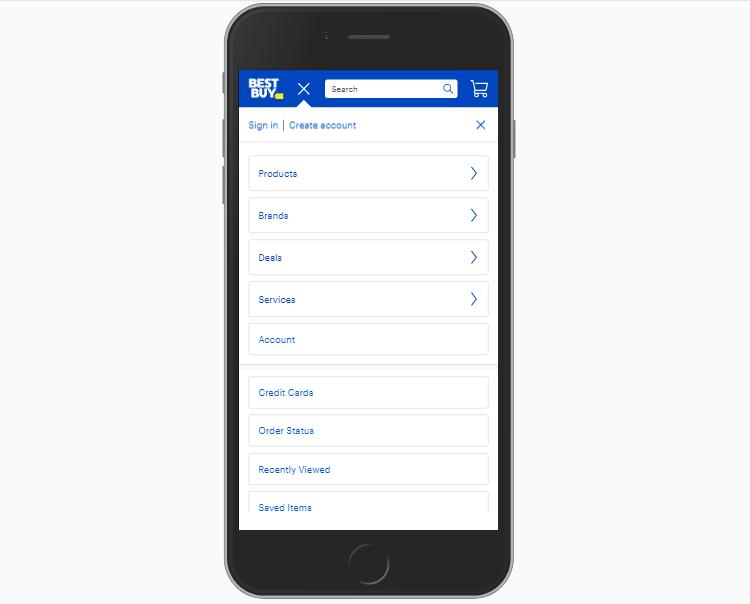 mobile ecommerce menu.