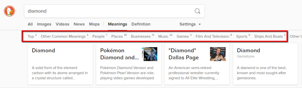 example of duckduckgo showing other potential meanings for a word.
