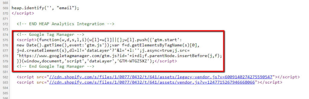 example of google tag manager code.