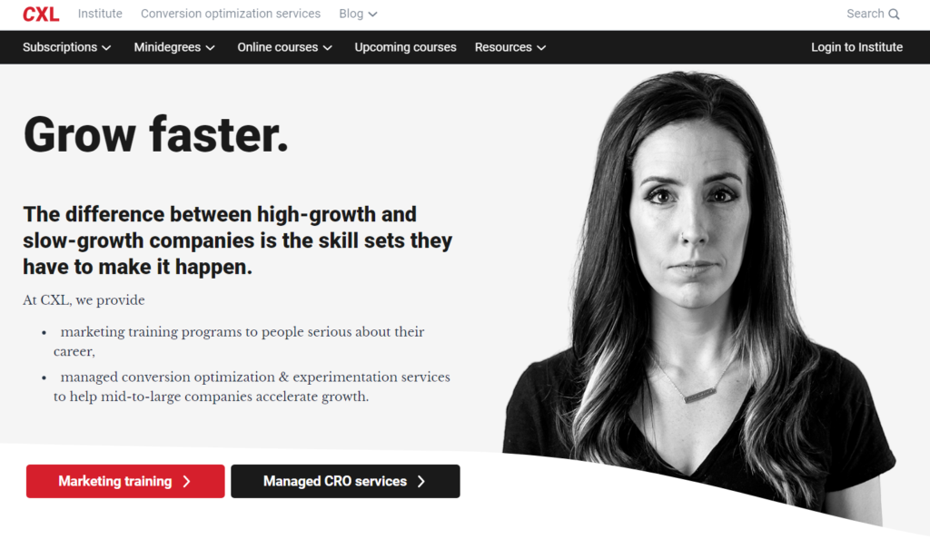 example of forward-facing image on website homepage.