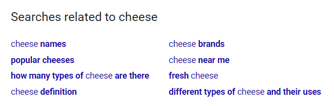 "related searches for ""cheese"" on google."